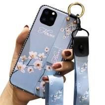 Aulzaju iPhone 11 Pro Max Crossbody Lanyard Case, iPhone 11 Pro Max Shiny Stylish Foldable Kickstand Case Soft TPU Flower Hybrid Cover for iPhone 11 Pro Max with Wrist Strap(Blue)