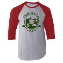 Camp Crystal Lake Counselor T Shirt Horror Costume Red S Raglan Baseball Tee Shirt