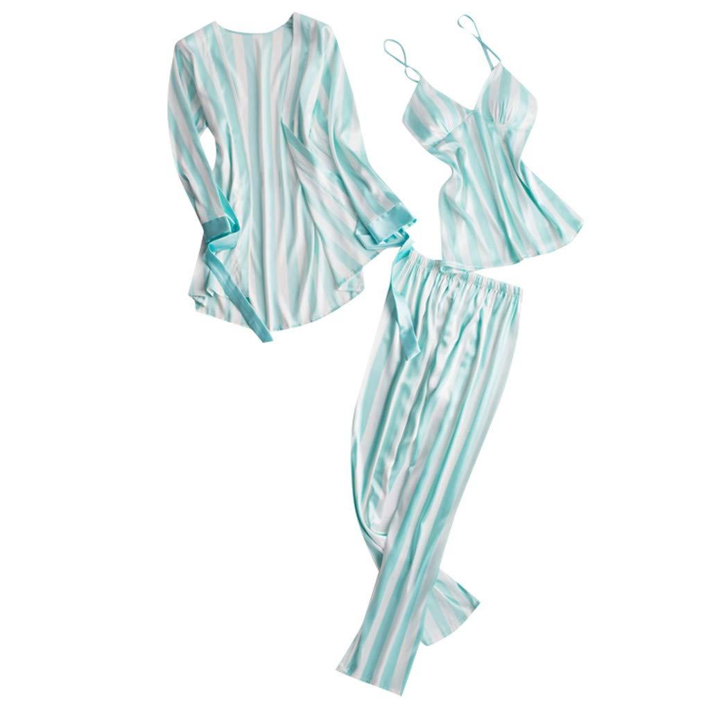 Xinantime- Women's Three Sets of Pajamas Satin Pajamas Set Silk Sleepwear Sexy Sling Nightwear Gift Lingerie Set