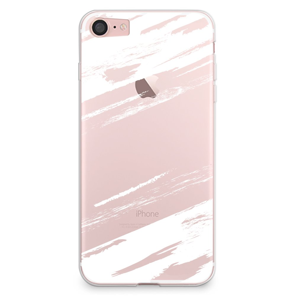 CasesByLorraine iPhone 7 Plus Case, Abstract White Paint Brush Clear Transparent Case Slim Hard Plastic Back Cover for iPhone 7 Plus (A34)