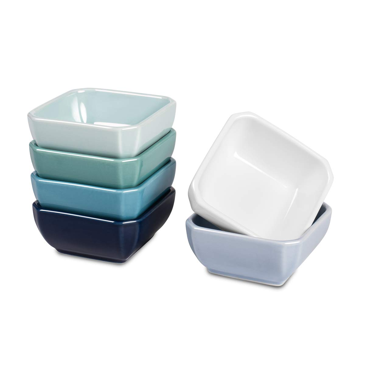Delling 3 Oz Ceramic Dip/Dipping Bowls Set - Dipping Soy Sauce Dishes/Bowls Small Sauce Cups for Sushi Tomato Sauce, Soy, BBQ-Chip and Serving Bowls Set - Set of 6,Colorful