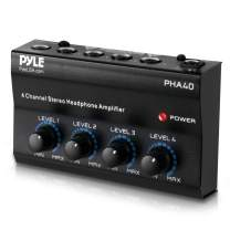 """4-Channel Portable Stereo Headphone Amplifier - Professional Multi Channel Mini Earphone Splitter Amp w/ 4 ¼"""" Balanced TRS Headphones Output Jack and 1/4"""" TRS Audio Input For Sound Mixer - Pyle PHA40"""