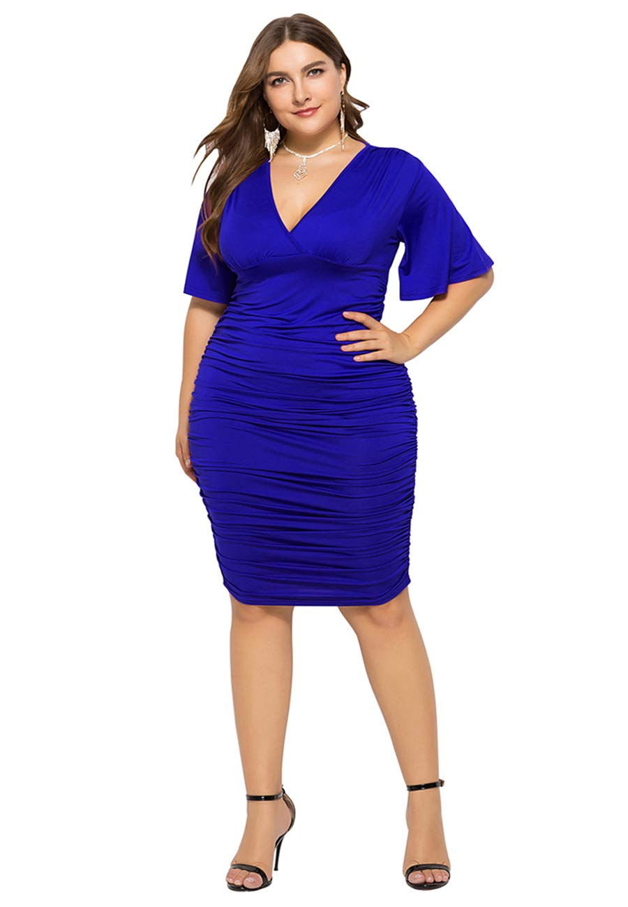 OMZIN Women's Plus Size Sexy V-Neck Pencil Dress Ruffle Sleeve Bodycon Evening Gown L-4X