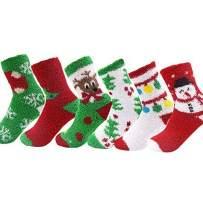Christmas Socks Thickening Warm Fuzzy Floor Socks Holiday Socks 6 Pack