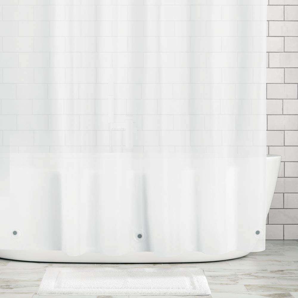 """mDesign Extra Wide Waterproof, Mold/Mildew Resistant, Heavy Duty Premium Quality 10-Guage Vinyl Shower Curtain Liner for Shower and Bathtub - 108"""" x 72"""" - Clear Frost"""
