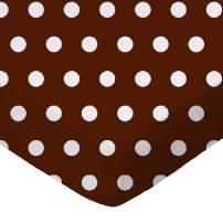 SheetWorld Fitted Portable / Mini Crib Sheet - Polka Dots Brown - Made In USA