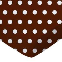 SheetWorld Fitted Portable / Mini Crib Sheet - Polka Dots Brown - Made In USA