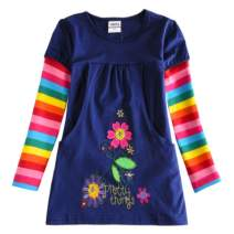 VIKITA Toddler Flower Girl Dress Cotton Long Sleeve Navy Baby Girls Wedding Party Birthday Dresses for 2-8 Years