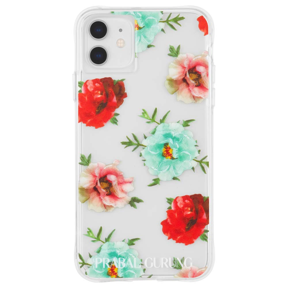 Case-Mate - iPhone 11 Case - PRABAL GURUNG - Tough Embroidered Floral - 6.1 - Clear