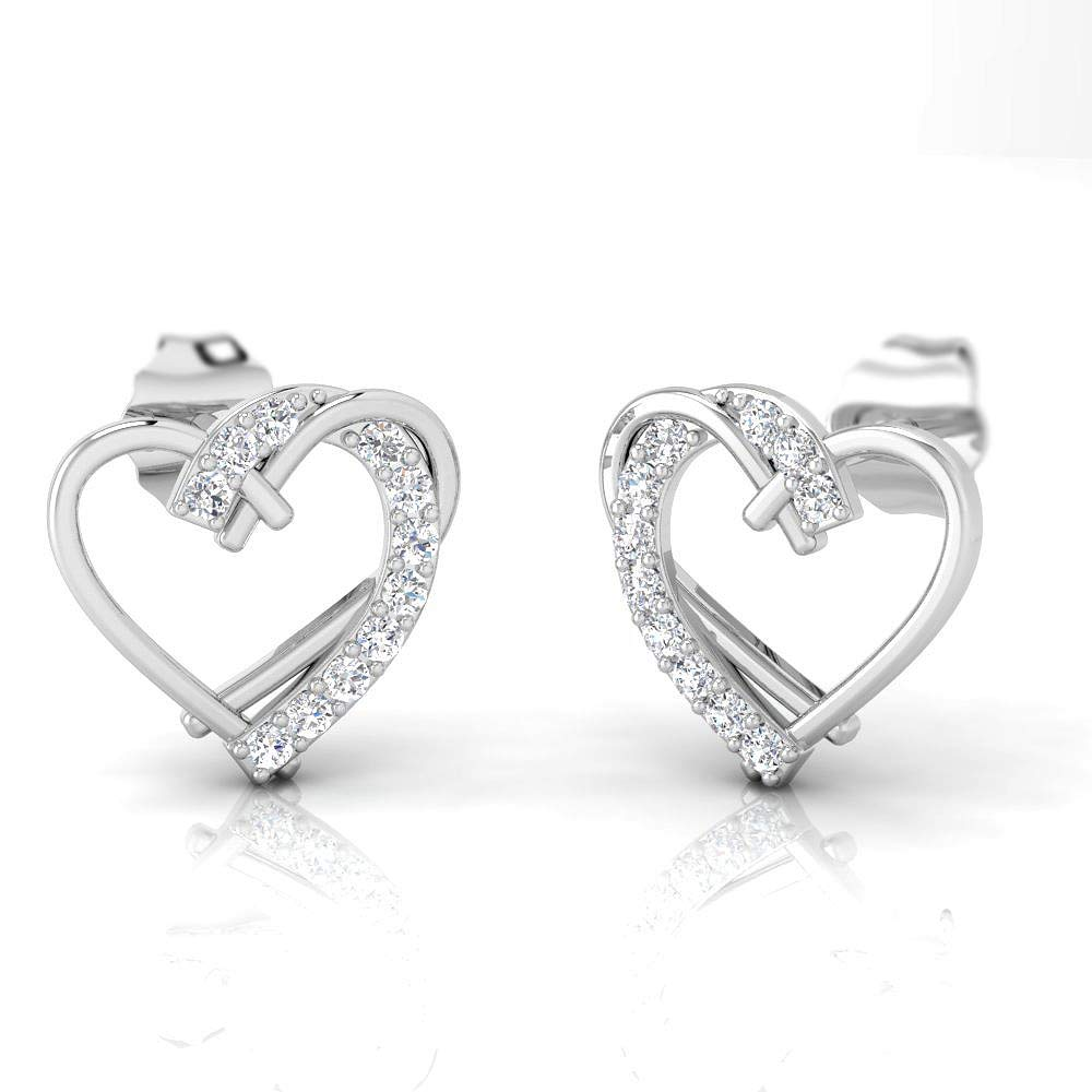 IGI 1/6 Carat Natural Diamond 925 Sterling Silver Heart Shaped Stud Earrings for Women and girls Wife Girlfriend or loved one (J-K Color, I2-I3 Clarity)