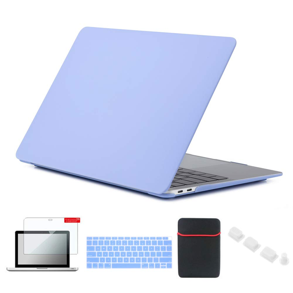Se7enline MacBook Air 13 Inch Case A1932 Hard Shell Carrying Cover for MacBook Air 13-Inch with Retina Touch ID 2018/2019 New with Sleeve Bag, Keyboard Cover, Screen Protector, Dust Plug,Serenity Blue