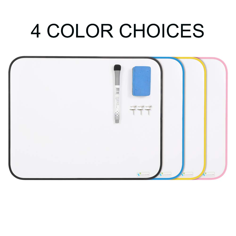 Small Dry Erase Whiteboard, SIOSSION 11x8.3inches Hanging Writing Drawing&Planning White Board Double Sided Magnetic Board with Magnetic Dry Erase Marker&Eraser for Children Home School Using (Blue)