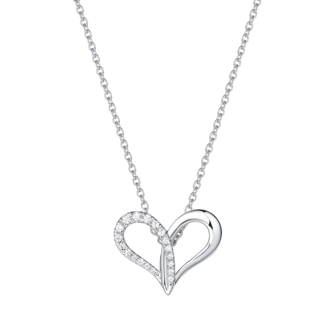 """FANCIME 925 Sterling Silver Open Loving Heart Cubic Zirconia CZ Dainty Forever Love Pendant Necklace for Women Girls, 16"""" + 2"""" Extender"""