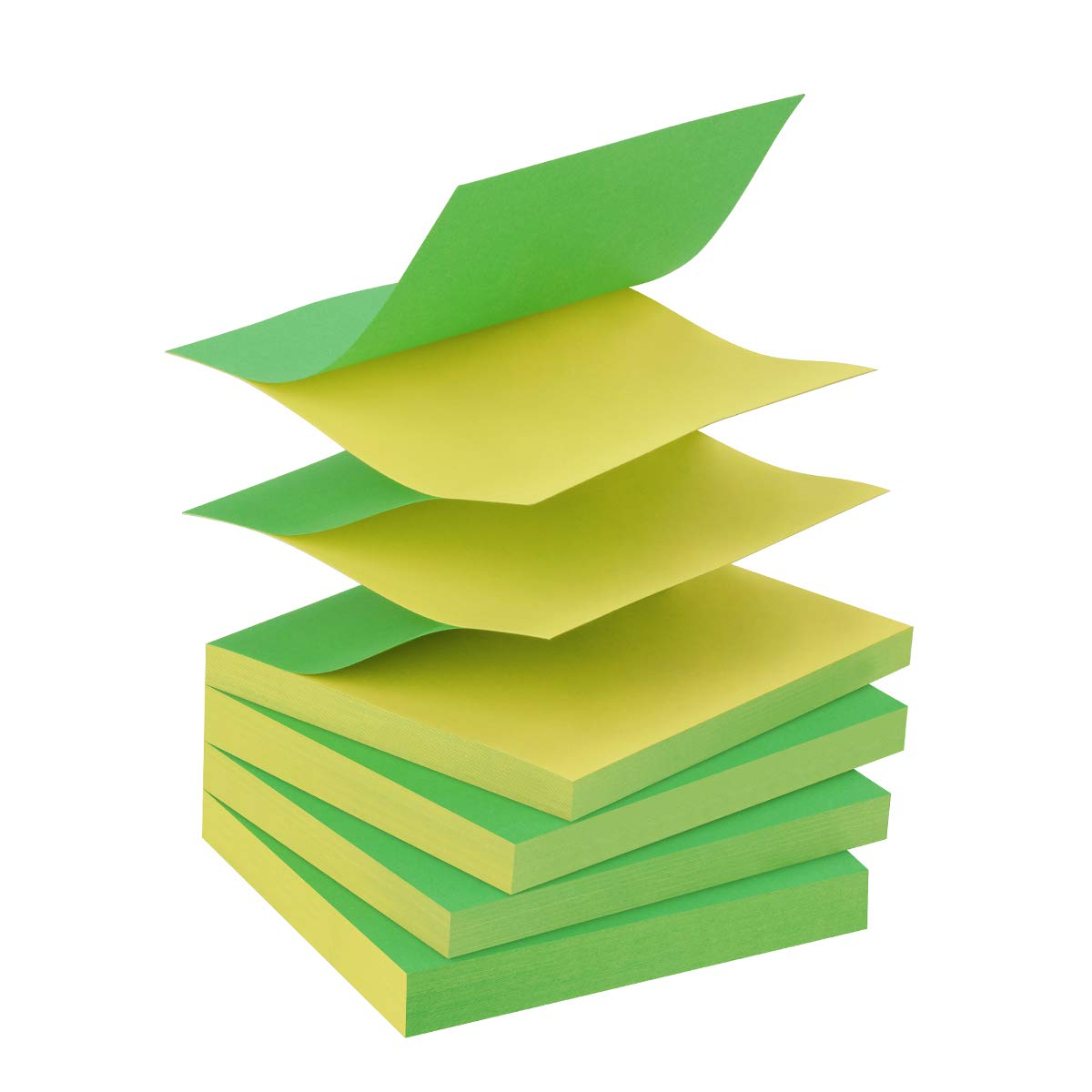 ZCZN Pop-up Sticky Notes 3 x 3 Inches, 4 Pads Bright Color Self-Stick Notes, 80 Sheets/Pad, Green and Yellow