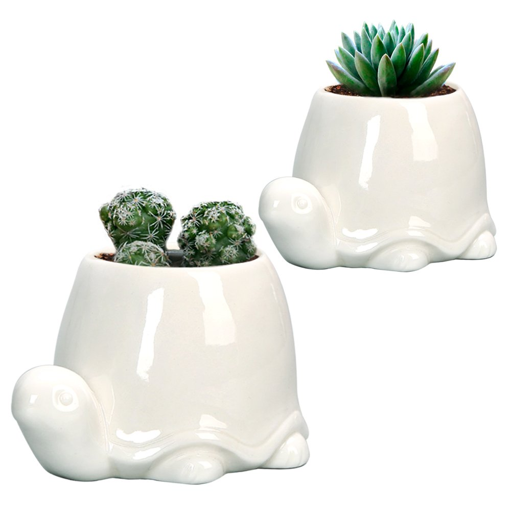 GeLive Turtle Ceramic Succulent Planter, White Animal Plant Pot, Windowsill Box, Flower Container, Tabletop Decor with Drainage Hole (Set of 2 Tortoise)