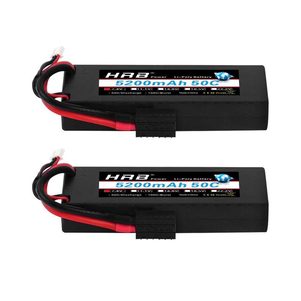 HRB 2pcs 5200mAh 7.4V 2S 50C LiPo Battery Hard Case with Traxxas Plug for RC Car Losi Traxxas Slash Buggy Team Associated
