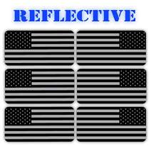 3M REFLECTIVE Stealthy Flag Hard Hat Stickers | Black Ops Decals | Tactical Gear Survival Labels | USA Canada Mexico Flags Toolbox Helmet Patriotic Old Glory (USA Flag Mirrored)