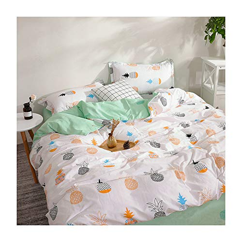 KFZ Tropical Pineapple Twin Bedding, 3 Piece White Duvet Cover Set with 1 Comforter Cover (No Comforter Insert), 2 Pillow Cases, Breathable Bed Set for Kids