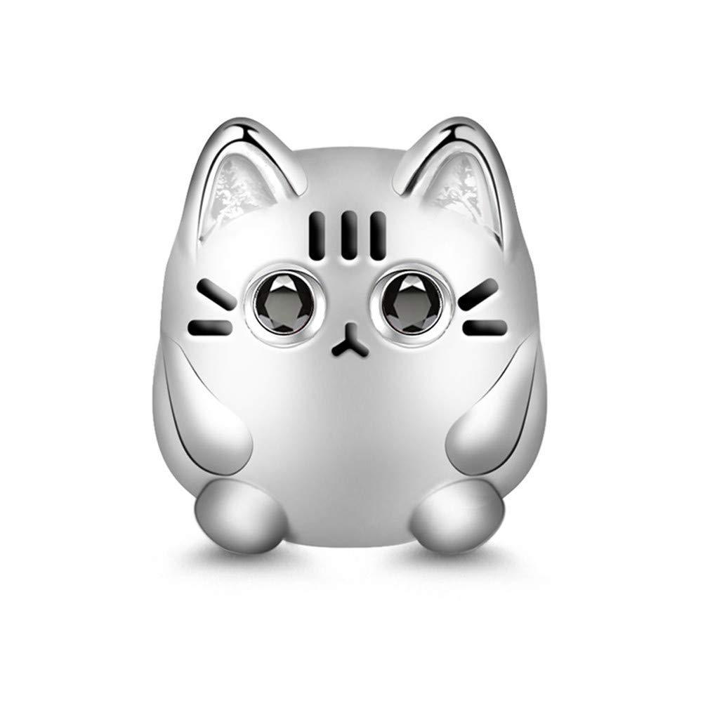 GNOCE Cute Cat Charm Christmas Charms Gifts 925 Sterling Silver Meow, Play with Me Bead Charm fit for Bracelet/Necklace Christmas Jewelry Gift for Women Girls