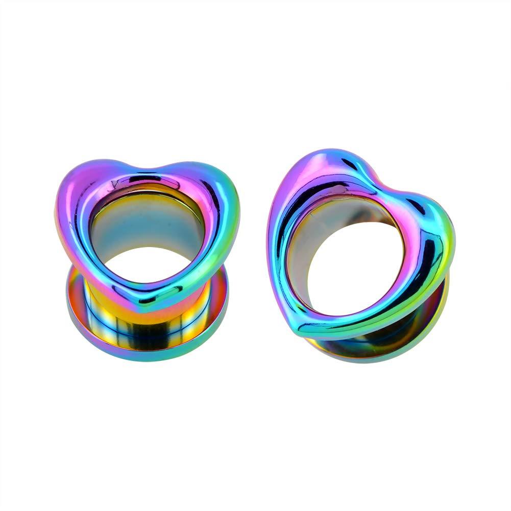 Jewseen Rainbow Heart Plugs and Tunnels Ear Stretchers Gauges 316L Stainless Steel Ear Expander 2g-3/4'' Piercings Earring