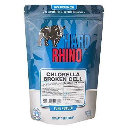 Hard Rhino Chlorella Broken Cell Powder, 500 Grams (1.1 Lbs), Unflavored, Lab-Tested, Scoop Included
