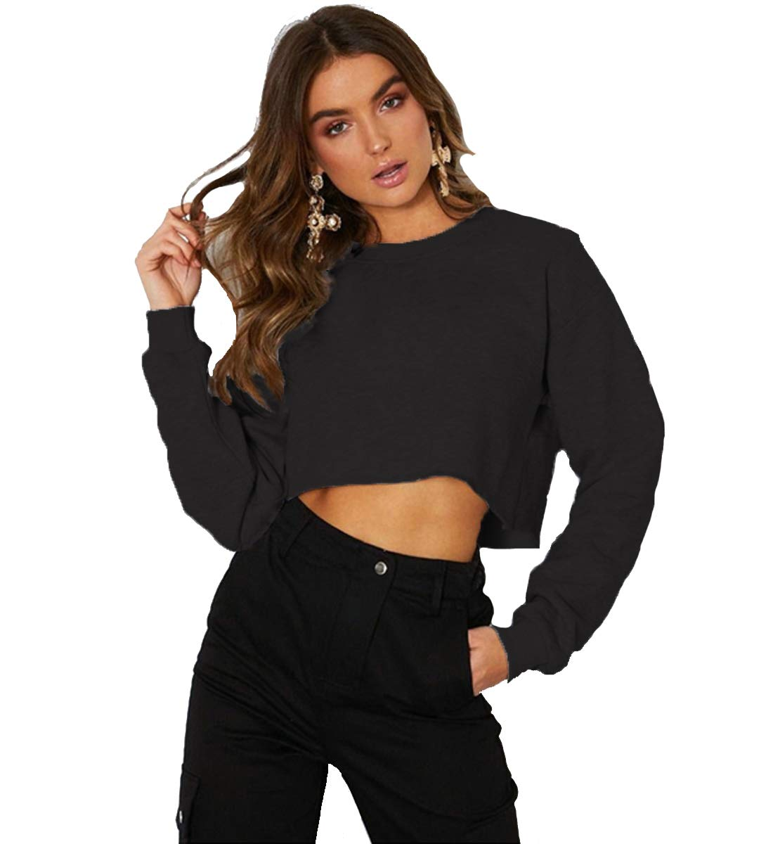 Kyerivs Crop Sweatshirt for Women Crewneck Long Sleeve Workout Tops