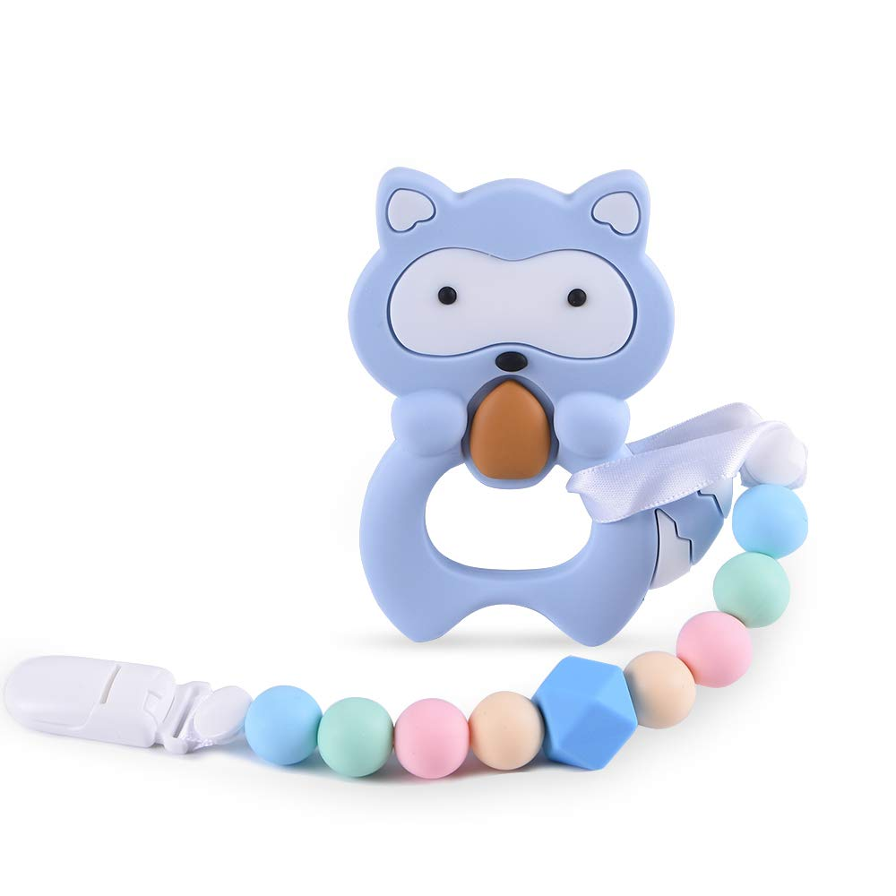 Baby Teething Toys BPA Free Silicone Teether Pain Relief Toy with Pacifier Clip Holder Set for Baby Girls Boys Infant Newborn Christmas Baby Shower Birthday (Blue)