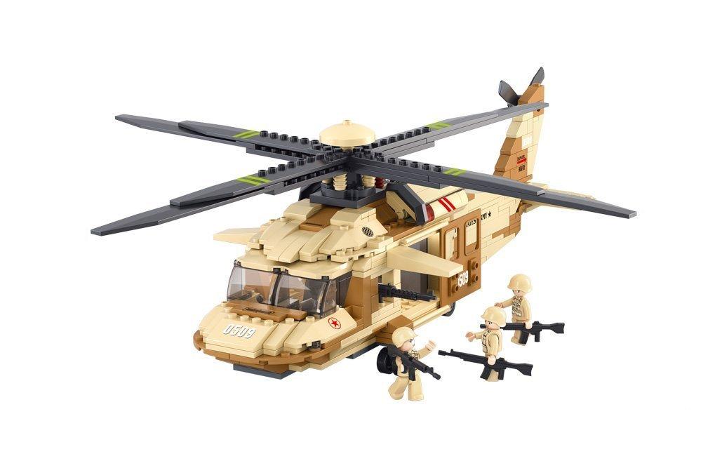 Sluban Military Blocks Army Bricks Toy – Black Hawk Helicopter