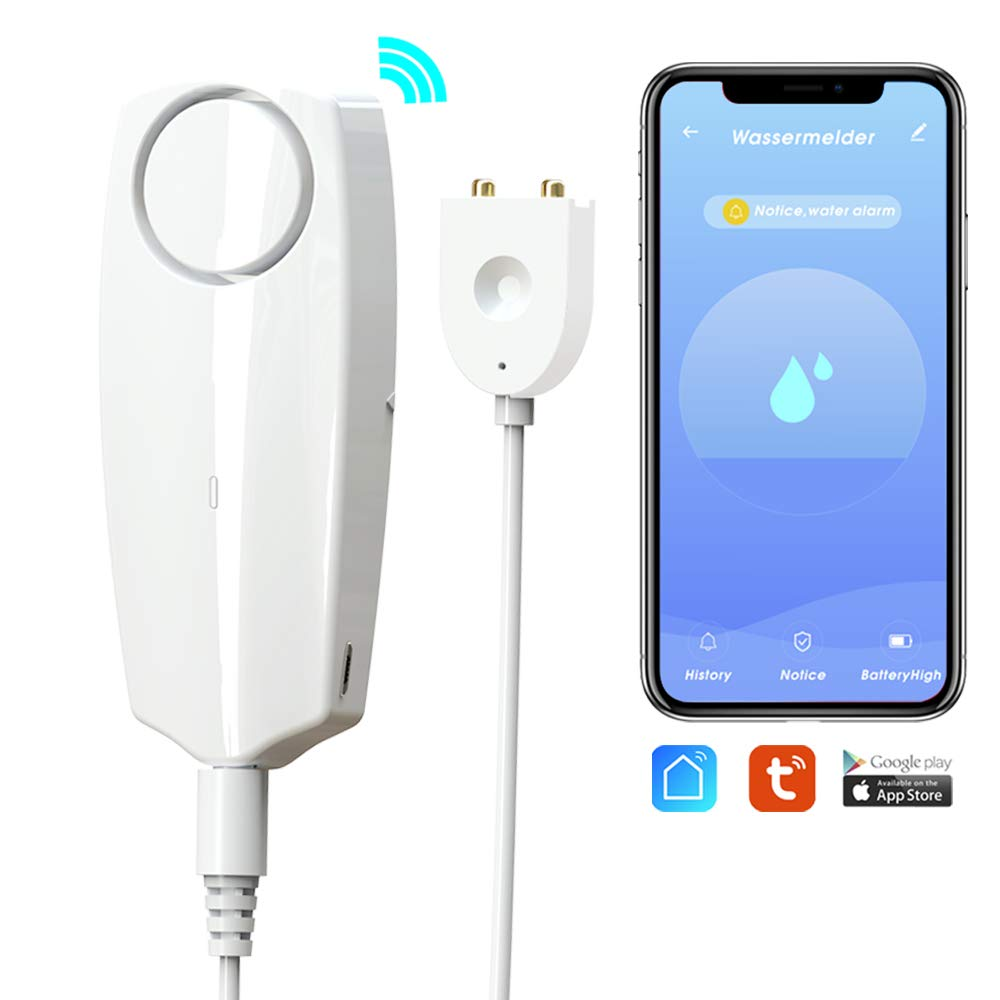 GMAXT Water Leak Detector,TUYA Smart APP WiFi Water Sensor Alarm,Water Monitor Alarm with Rechargeable and 100 dB Volume,Remote Monitor Leak Ideal for Home Security Basement,Washer, Bath Cellar