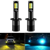 CIIHON H1 LED Fog Light Bulb 3030SMD 35W Not Headlight 1900LM Dual Color 8000K Ice Blue 3000K Yellow DRL Lights Bulbs Replacement Pack of 2