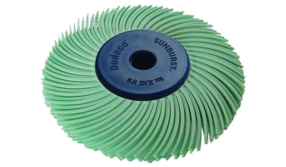 """Dedeco Sunburst - 2"""" TC 3-PLY Radial Bristle Discs - 1/4"""" Arbor - Industrial Thermoplastic Rotary Cleaning and Polishing Tool, Ultra-Fine 1 Micron (1 Pack)"""
