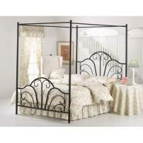 Hillsdale Furniture Dover Bed Set with Canopy and Legs, Queen, Textured Black