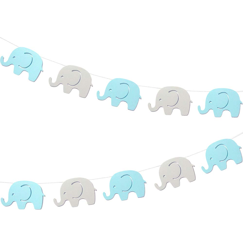 10 Feet Blue Elephant Garland Baby Shower Decorations Baby Boy Elephant Boys Party Banner Decorations Birthday Party New Years Supplies Baby Nursery Decorations Blue Gray Elephant 4 Inches 17 Pieces