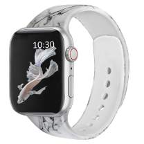 FRUITCAT Watch Band Compatible with Apple Watch 38mm 40mm 42mm 44mm, Soft Silicone Sport Watch Band Replacement Compatible with iWatch Series 6/5/4/3/2/1/SE Black Marble_38/40mm_S