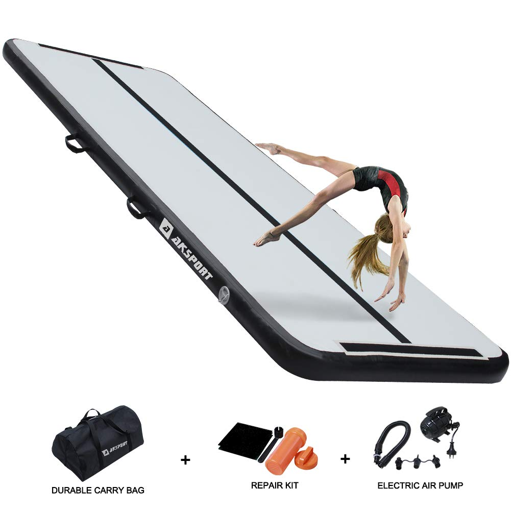 AKSPORT Air Track 10ft 13ft 16ft 20ft Airtrack Gymnastics Tumbling Mat Inflatable Tumble Track with Electric Air Pump for Home Use/Tumble/Gym/Training/Cheerleading