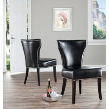 Safavieh Mercer Collection Carter Black Leather Dining Chair, Set of 2