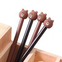 WIN-MARKET Fashion Cute Cartoon Brown Bear Gel Pen Creative Cartoon Ball Pens Office School Supply Stationery (10PCS)