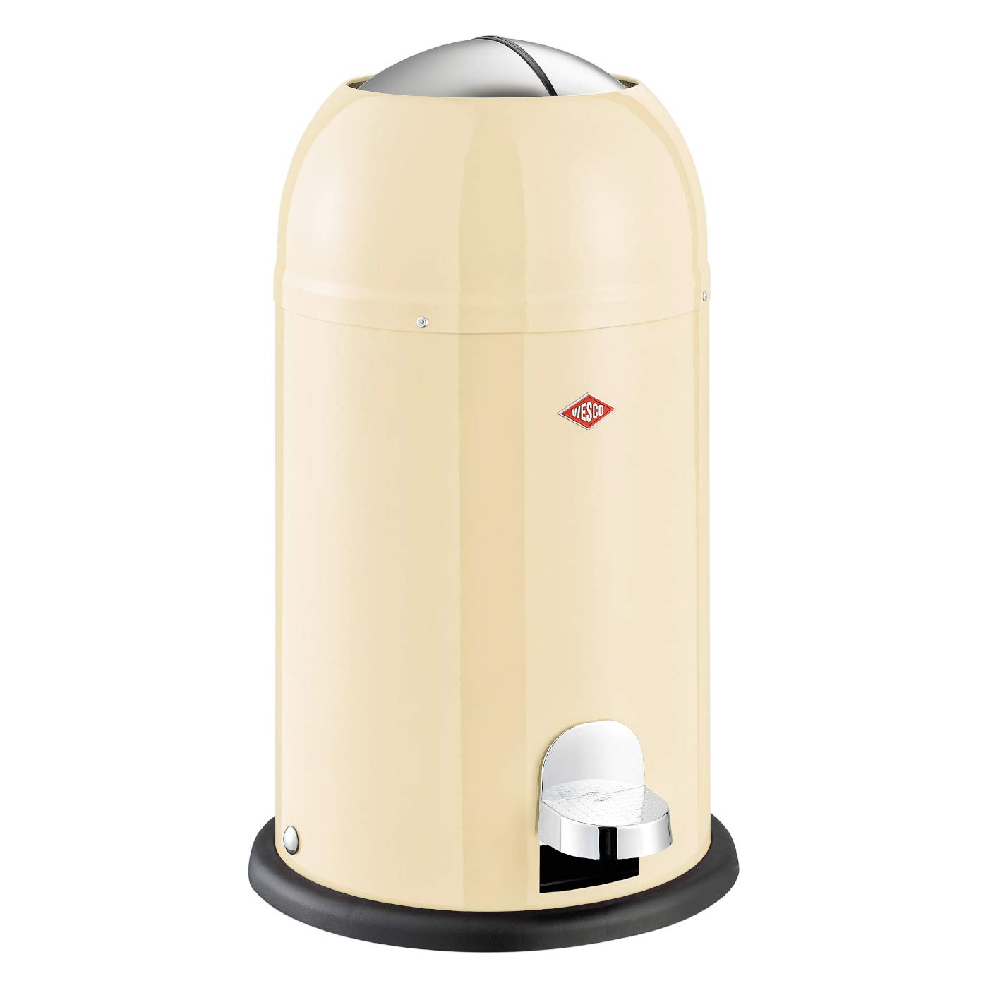 Wesco Kickmaster Junior - German Designed -  Step Trash Can, Powder Coated Steel, 4 Gallon / 15 L,  Almond