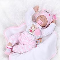 Nicery Reborn Baby Doll Soft Simulation Silicone Vinyl Cloth Body 18 inch 45 cm Magnetic Mouth Lifelike Boy Girl Toy for Ages 3+ Pink White Eyes Close C075S
