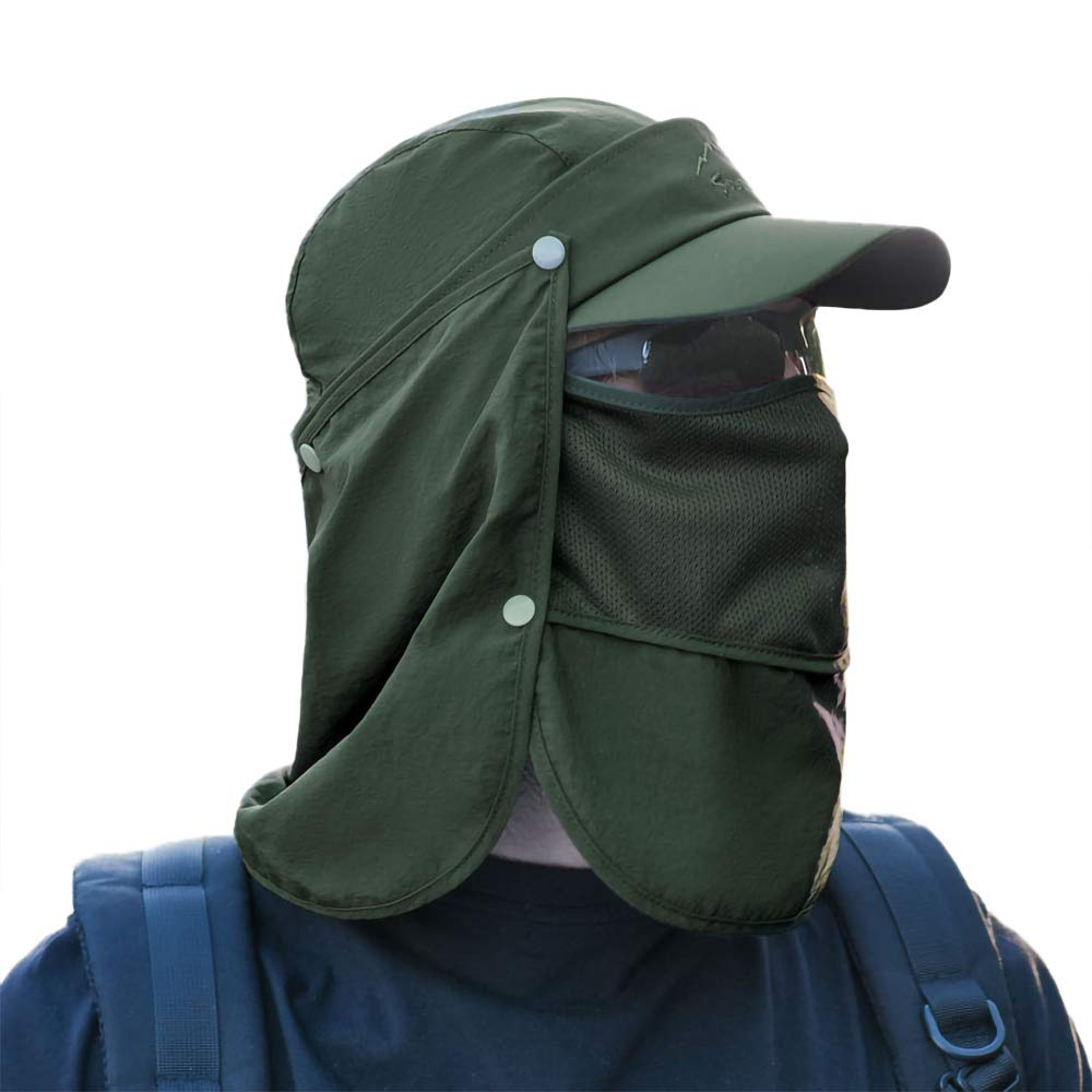 Peicees Sun Cap Fishing Hats with Face Neck Flap Sun Protection Baseball Cap for Men Women