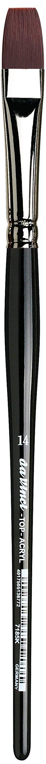 da Vinci Oil & Acrylic Series 7185K Top Acryl Paint Brush, Flat Red/Brown Synthetic with Short Handle, Size 14