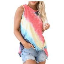 Euaoxnc Women's Round Neck Tie Dye Tank Tops Casual Summer Sleeveless Twisted Knot Loose Shirts Blouses