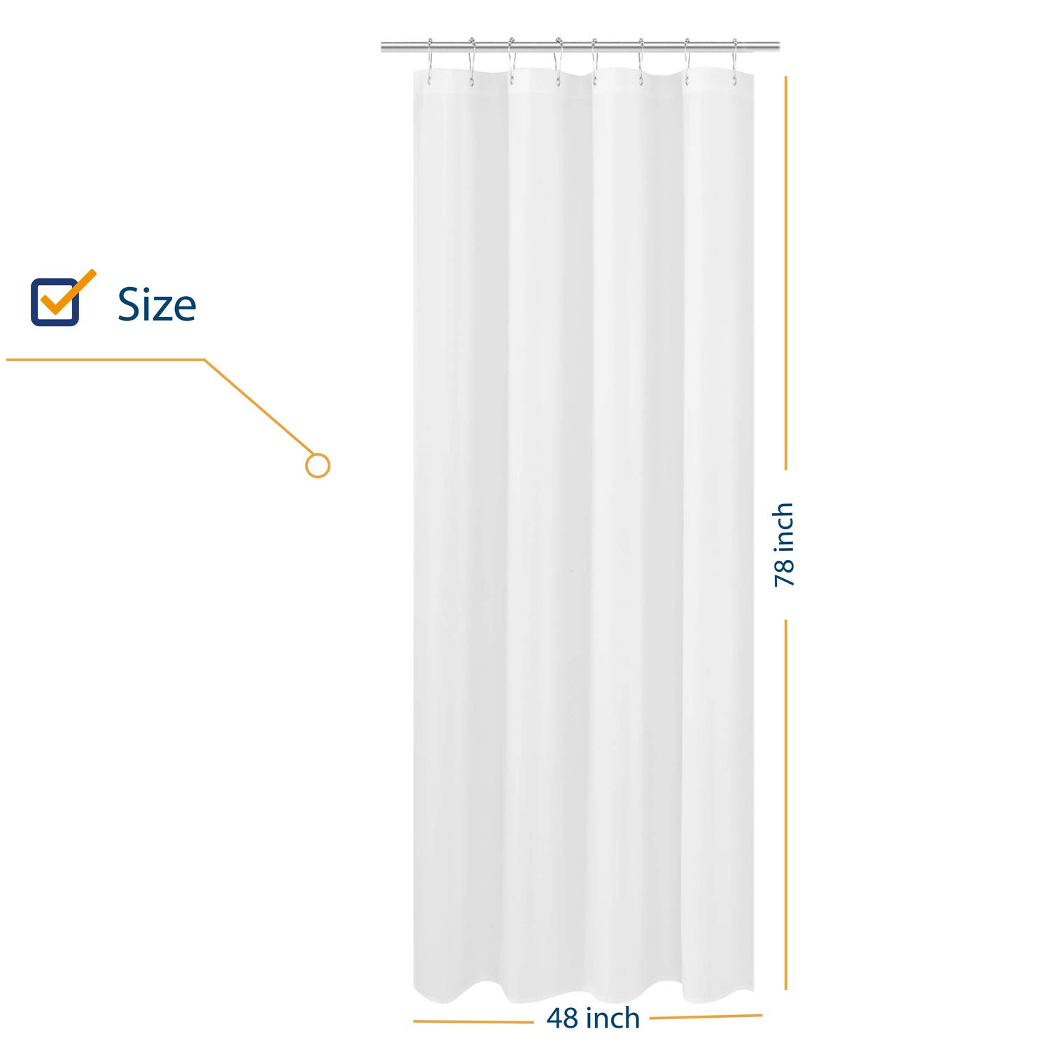 N&Y HOME Fabric Shower Curtain Liner Long Stall Size 48 x 78 inches, Hotel Quality, Washable, Water Repellent, White Bathroom Curtains with Grommets, 48x78