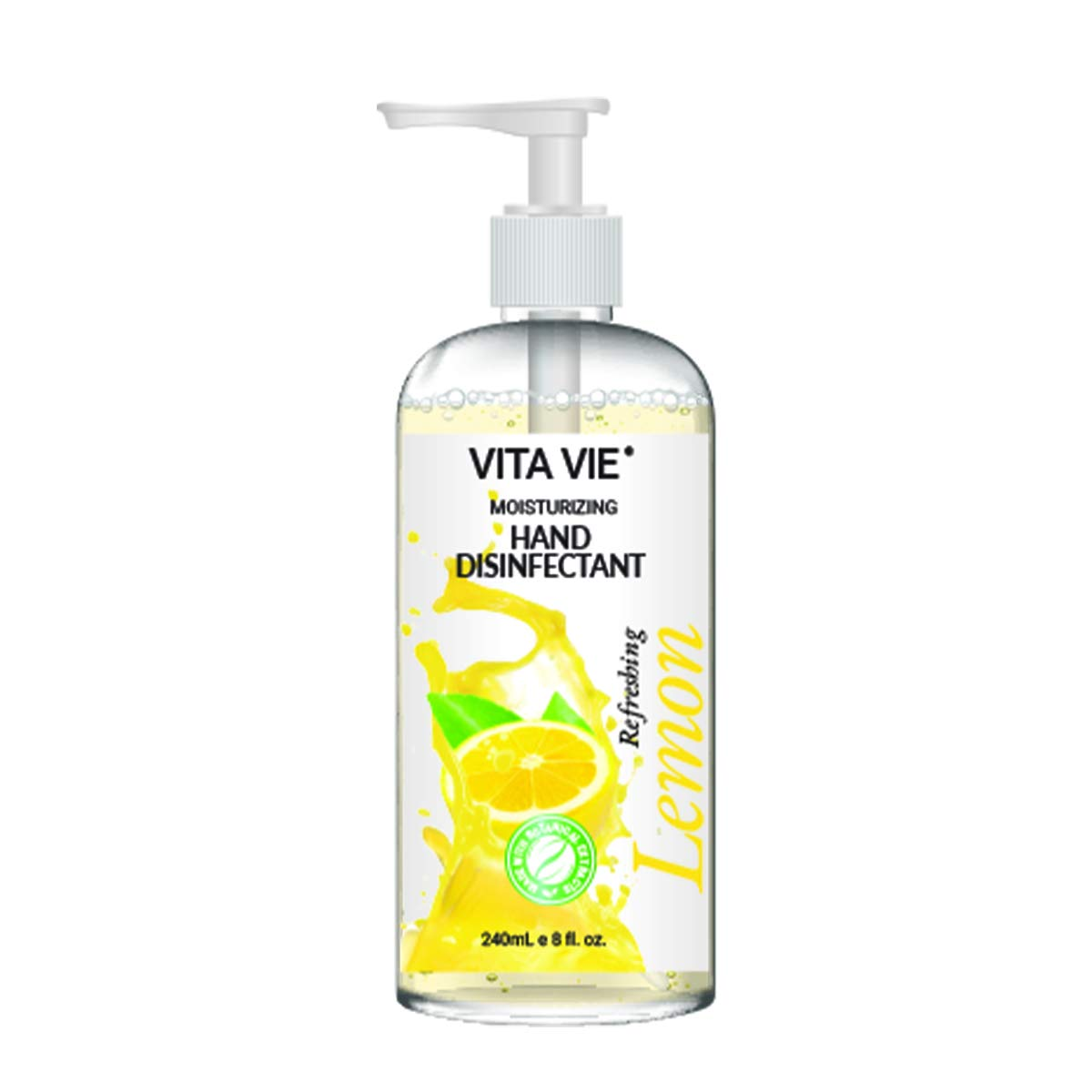 Vita Vie Moisturizing Hand Disinfectant Lemon Scented Hand Sanitizer With Pump 8 Oz No Soap Rinse Free Hand Cleaner
