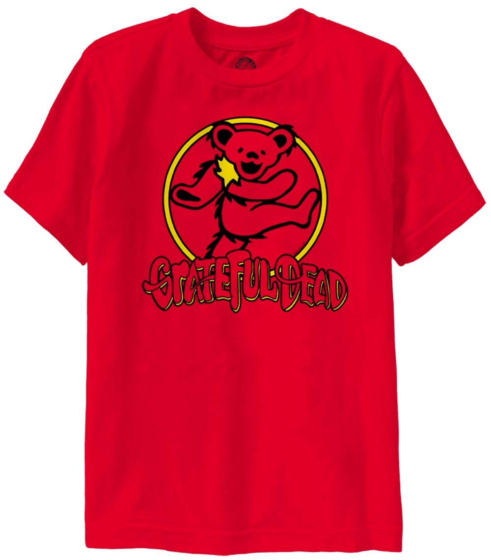 Ripple Junction Grateful Dead Youth 2 Color Bear Circle Heavy Weight 100% Cotton Crew T-Shirt