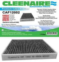 Cleenaire CAF12002 The Most Advanced Protection Against Smog Dust Allergens Gases Odors, Cabin Air Filter For 15-17 Hyundai Sonata (Excluding Hybird)