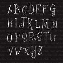 Girly Font Uppercase Alphabet Iron On Rhinestone Crystal T-Shirt Transfer by JCS Rhinestones