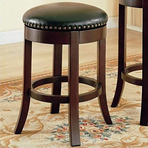 "24"" Swivel Counter Stools with Upholstered Seat, Walnut and Dark Brown (Set of 2)"