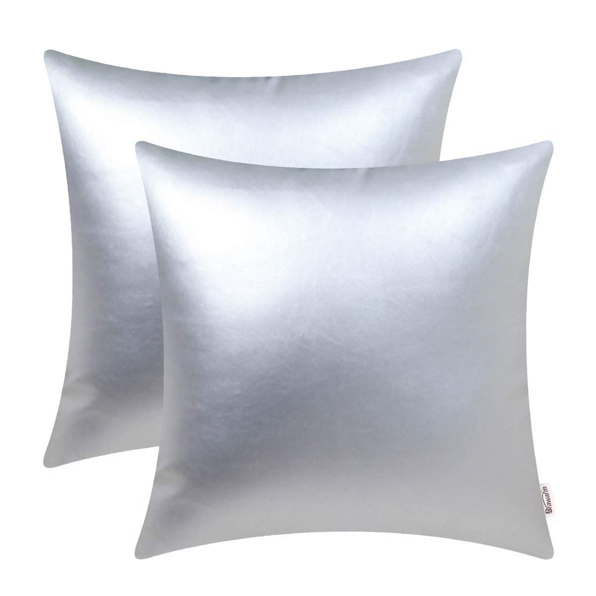 BRAWARM Pack of 2 Cozy Throw Pillow Covers Cases for Couch Sofa Home Decoration Solid Dyed Soft Faux Leather Both Sides 24 X 24 Inches Silver