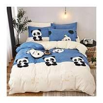 "KFZ Panda Printed Blue Beige Color Bed Set [4pcs Bedding -78""x90""Duvet Cover, Flat Sheet,2 Pillow Cases. No Comforter] Animal Theme, Quality Microfiber, Soft, 100% Kids Safe (Cute Panda, Queen)"